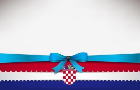 bandera de croacia: Resumen de fondo con la bandera de Croacia y un lazo azul. Vectores