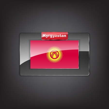 kyrgyz republic: Glass button of the flag of Kyrgyzstan with a red bow.