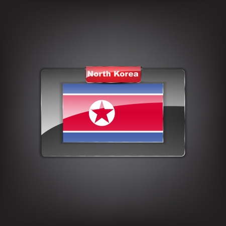 Glass button of the flag of North Korea with a red bow. Vector