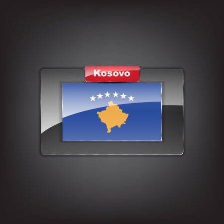 Glass button of the flag of Kosovo with a red bow. Vector