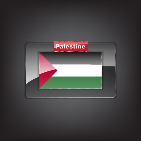 Glass button of the flag of Palestine with a red bow. Vector
