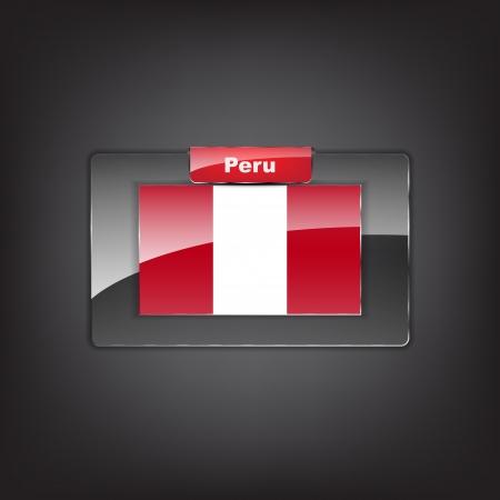 bandera de peru: Botón de cristal con la bandera de Perú con un lazo rojo.