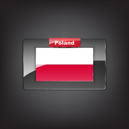 Glass button with the flag of Poland with a red bow. Stock Vector - 19659051