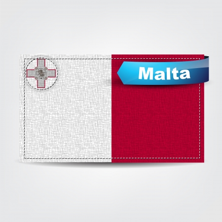 malta flag: Fabric texture of the flag of Malta with a blue bow. Illustration