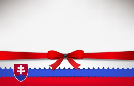 recollection: Abstract background with the Slovakia Flag and a red bow. Illustration