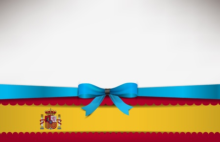 recollection: Abstract background with the Spain Flag and a blue bow. Illustration