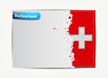 swiss insignia: Stitched Switzerland flag with grunge paper frame for your text.