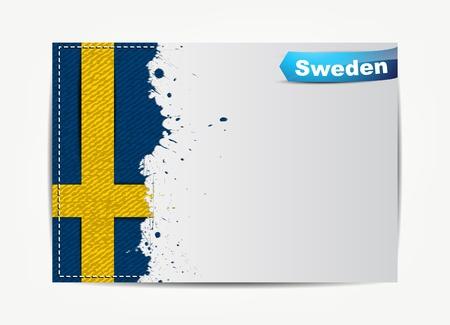 bandera de suecia: Cosida bandera de Suecia con el marco de papel grunge para el texto.