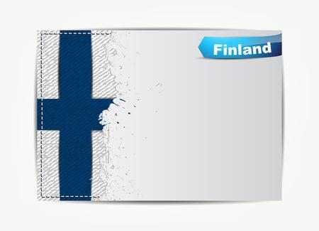 bandera de finlandia: Cosida bandera de Finlandia con el marco de papel grunge para el texto.