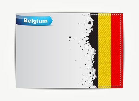 belgium flag: Stitched Belgium flag with grunge paper frame for your text.