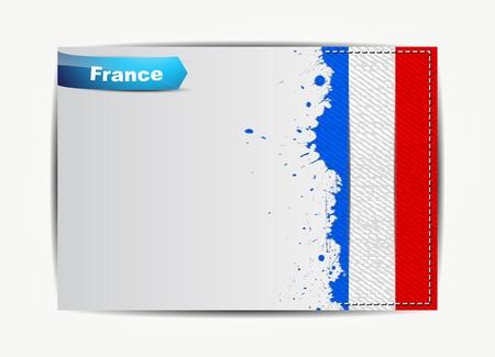 bandera francia: Francia flag cosido con marco de papel de grunge para el texto.