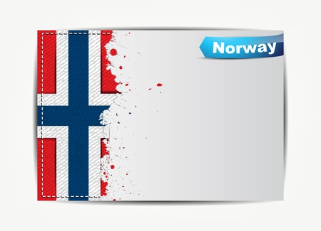 norwegian flag: Stitched Norway flag with grunge paper frame for your text.