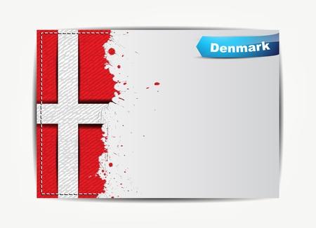 denmark flag: Stitched Denmark flag with grunge paper frame for your text. Illustration