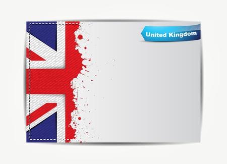 bandera inglaterra: Cosida bandera del Reino Unido con el marco de papel grunge para el texto. Vectores