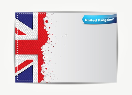 england flag: Stitched United Kingdom flag with grunge paper frame for your text. Illustration