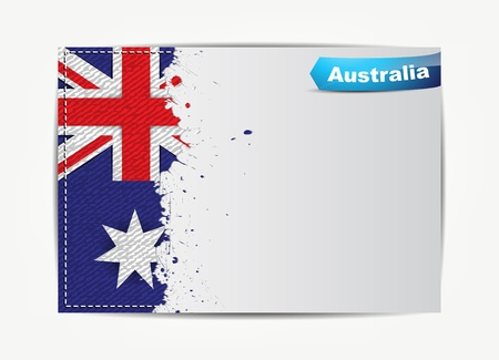 australia flag: Stitched Australia flag with grunge paper frame for your text with the name of the country  Illustration