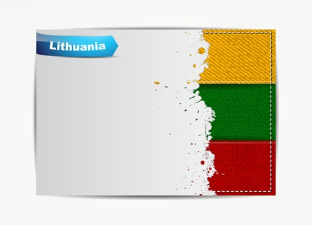lithuania flag: Stitched Lithuania flag with grunge paper frame for your text with the name of the country