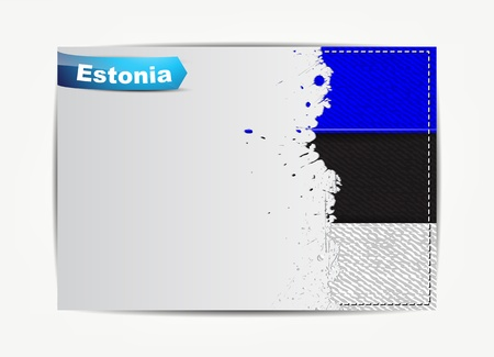 estonia: Stitched Estonia flag with grunge paper frame for your text with the name of the country
