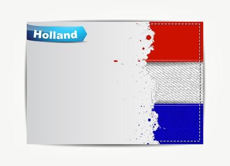 drapeau hollande: Cousu le drapeau Hollande avec trame de papier grunge pour votre texte avec le nom du pays Illustration