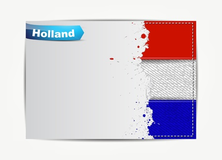 Stitched Holland flag with grunge paper frame for your text with the name of the country  Vector