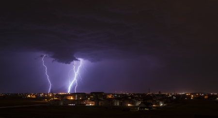 Lightning over small town Stock Photo - 20286795