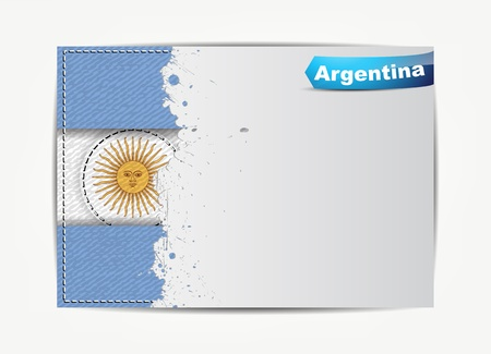 argentina: Stitched Argentina flag with grunge paper frame for your text with the name of the country. Illustration