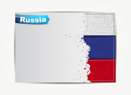 Stitched Russia flag with grunge paper frame for your text with the name of the country. Vector