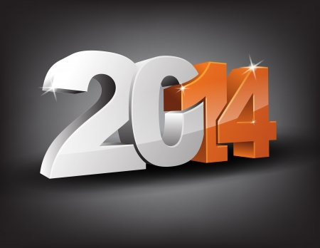 Happy new year 2014 in 3D with orange 14 and grey 20. Vector