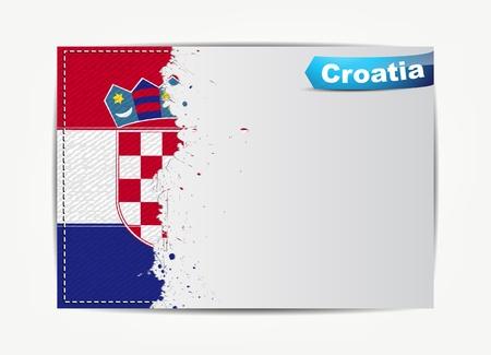 bandera de croacia: Cosida bandera Croacia con el marco de papel grunge para el texto con el nombre del país.