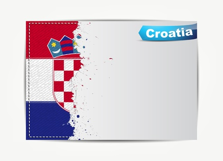 croatia flag: Stitched Croatia flag with grunge paper frame for your text with the name of the country.