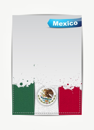 Stitched Mexico flag with grunge paper frame for your text with the name of the country. Vector