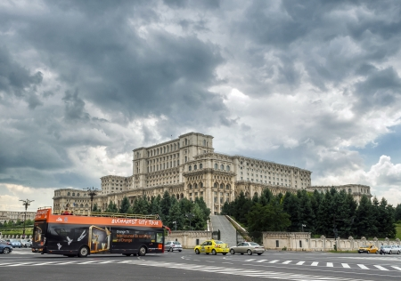 civilian: Bucharest, Romania - July 01, 2013: House of Parliament or Peoples house in Bucharest. Is the worlds largest civilian administrative building on 01 July 2013 in Bucharest, Romania Editorial