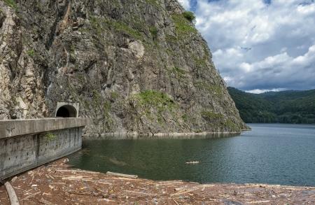 tunnel view: Landscape with Vidraru dam Lake in Fagaras mountains in Romania