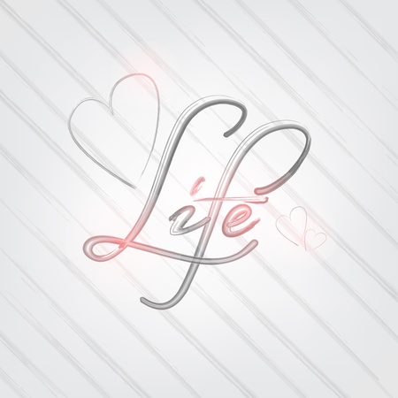 Life poster. Brush typography concept. Gray Background. Vector