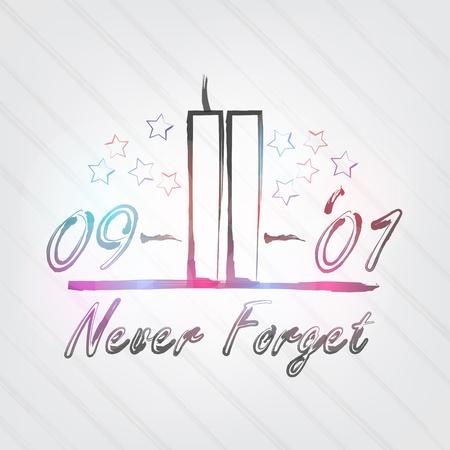 WTC 타이포그래피 - 타워와 레이블 복고 스타일 배경. 일러스트