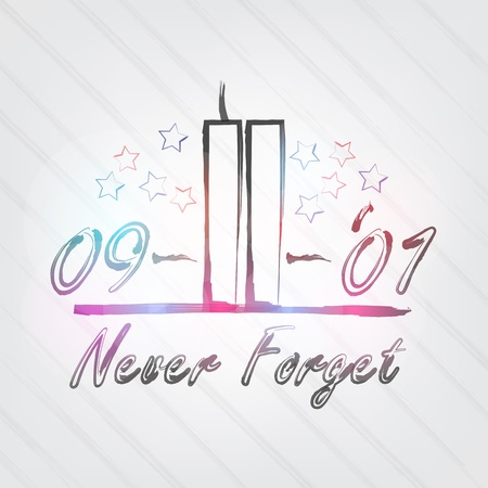 WTC Typography - background in retro style with towers and label.