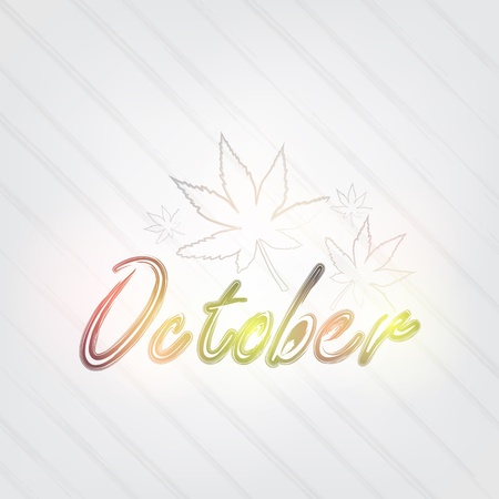 October Typography - background in retro style with leafs and label. Vector