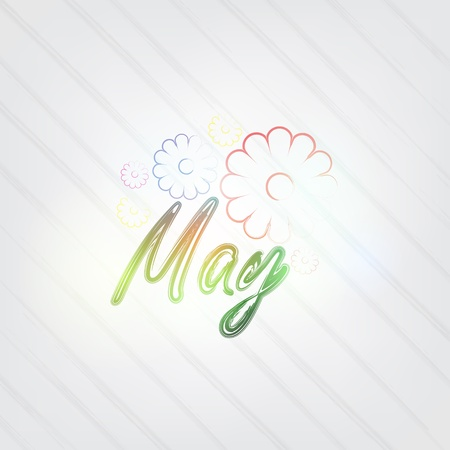 May Typography - background in retro style with flowers and label.