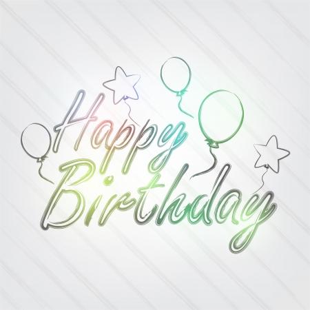 생일 타이포그래피 - 풍선 및 레이블 복고 스타일 배경.
