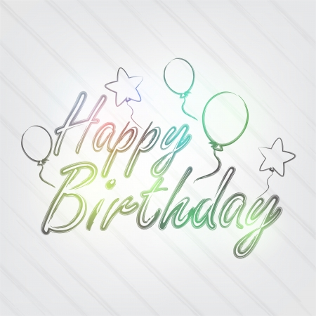 Happy Birthday Typography - background in retro style with balloons and label. Illustration