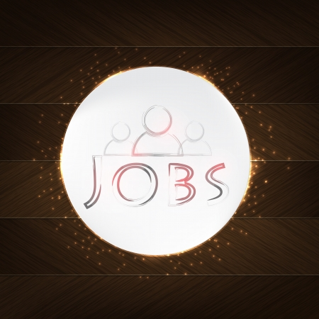 Jobs Typography - wood background in retro style with icon and label. Stock Vector - 21570341