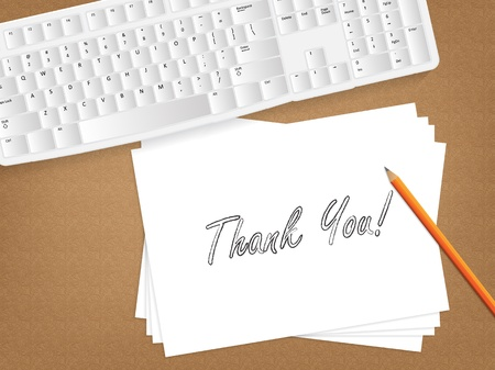 many thanks: Computer keyboard, sheet of paper with the message on it and a pencil on table.