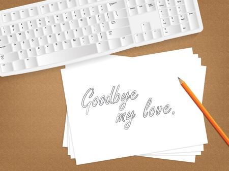 bye: Computer keyboard, sheet of paper with the message on it and a pencil on table.