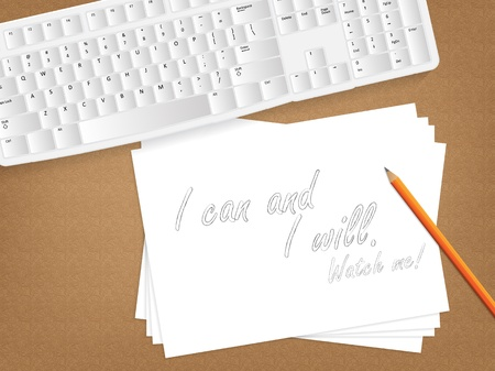 capable: Computer keyboard, sheet of paper with the message on it and a pencil on table.