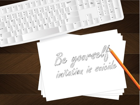 Computer keyboard, sheet of paper with the message on it and a pencil on table. Stock Vector - 21570421