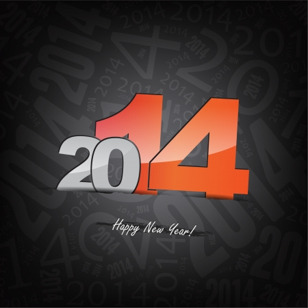 New 2014 year greeting card, with space for text,  happy new year. Illustration