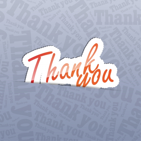 Thank you (sticker) in a text background. A lot of space for your text.  Vector