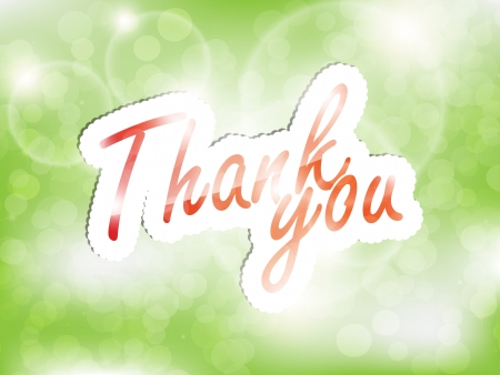 Thank you, green background with space for text. Vector