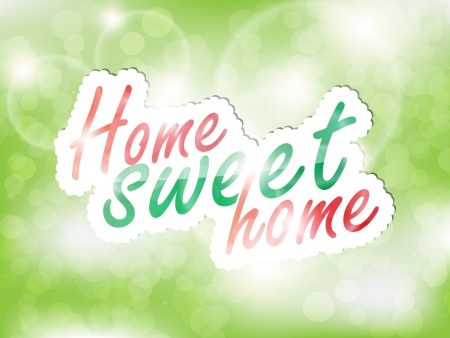 Sweet home sticker, green background with space for text. Stock Vector - 21949875