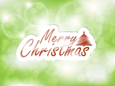 Merry Christmas, glowing green background with a tree and space for text. Vector